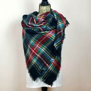 plaid tartan  blanket square scarf